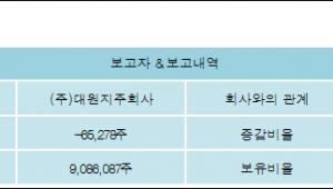 [ET투자뉴스][대원 지분 변동] (주)대원지주회사 외 8명 -0.59%p 감소, 82.23% 보유