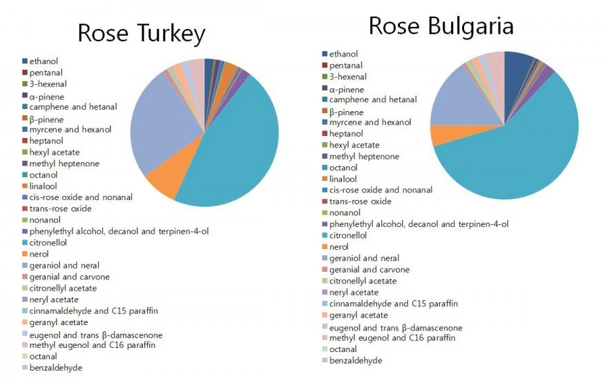 로즈 터키와 로즈 불가리아의 화학 조성의 차이