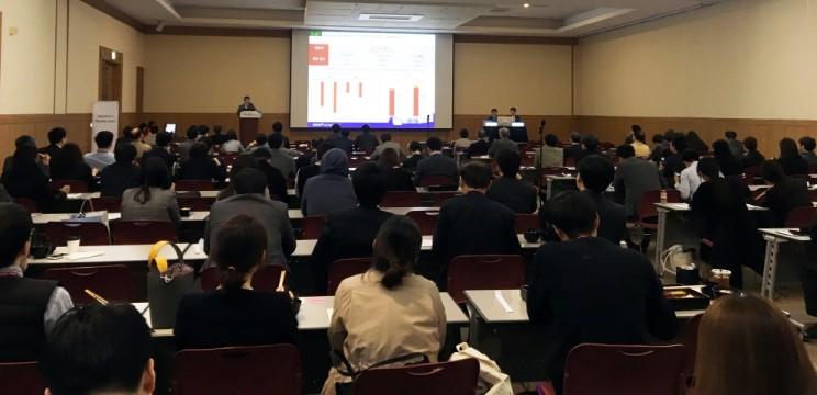 지난 20일 열린 춘계 심혈관 통합학술대회에서 한미약품 산학세션의 주제발표를 진행하고 있다.