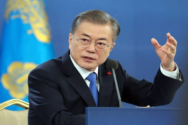 President Moon Jae-in is answering questions from reporters during a New Year press conference that was held at The Blue House in January.