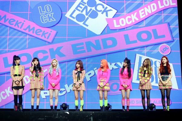 위키미키(Weki Meki) 두 번째 싱글 앨범 'LOCK END LOL' 발매기념 쇼케이스 공연사진. 사진=판타지오 제공