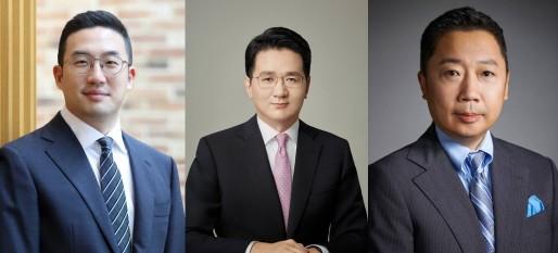 (왼쪽부터)구광모 LG그룹 회장, 조원태 한진칼 회장, 박정원 두산그룹 회장.