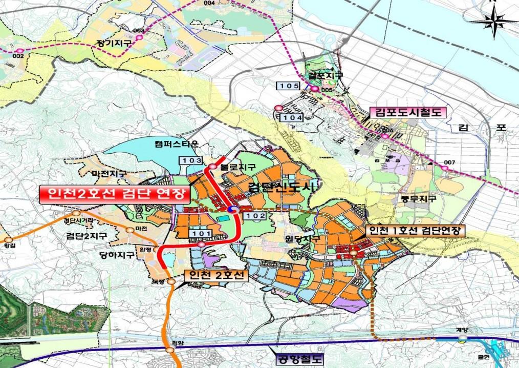 인천2호선 검단 연장선 노선도