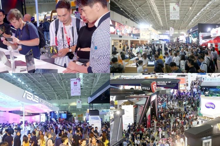 지난해 대만 타이베이에서 열린 컴퓨텍스 2018에서 관람객들이 각 제조사별 노트북을 살피고 있다 [사진=컴퓨텍스 타이베이 2019 사무국]