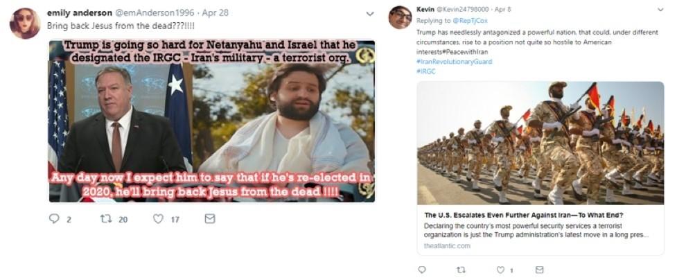 트럼프 정부의 이란 IRGC 해외 테러조직 지정에 대한 가짜 계정 트윗 샘플, 자료제공=파이어아이