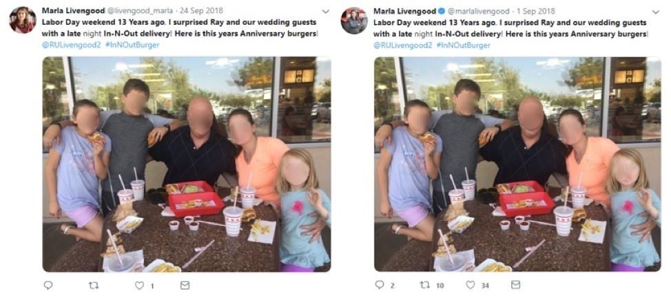 (좌) 가짜 계정의 2018년 9월 24일 트윗 / (우) 실제 리벤굿 공식 계정의 2018년 9월 1일 트윗, 자료제공=파이어아이