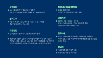 SBA, '2019 테스트베드 서울' 실증지원사업 모집…R&D지원형·기회제공형 등 사업화 지원