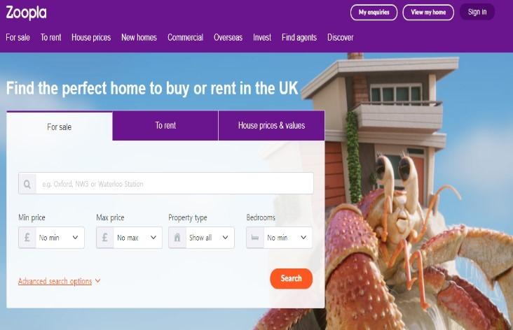 영국에서 유명한 부동산 관련 사이트 주플라