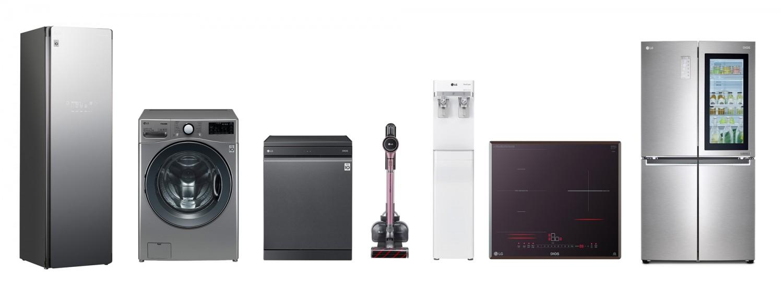 올해의 녹색상품으로 선정된 LG전자 제품 7종. (왼쪽부터)트롬 스타일러,  트롬 드럼세탁기, 디오스 식기세척기, 코드제로 A9, 퓨리케어 정수기, 디오스 전기레인지, 디오스 노크온 매직스페이스 냉장고 [사진=LG전자]