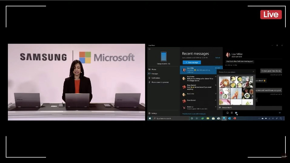 MS의 실파 라그나탄(Shilpa Ragnathan) Corporate VP가 윈도 10에서 노트10와 연동한 삼성 덱스를 시연하고 있다. [사진=삼성전자]