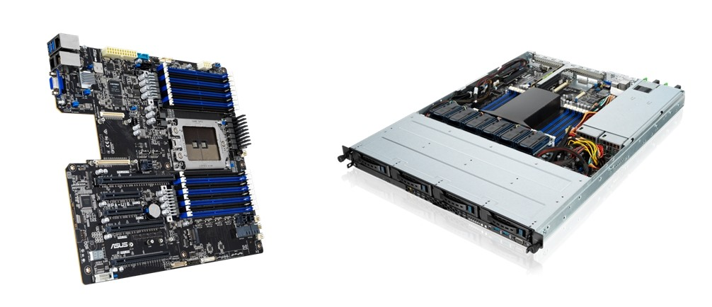 에이수스S KRPA-U16 서버 메인보드(왼쪽)와 RS500A-E10 시리즈 서버 [사진=에이수스코리아]