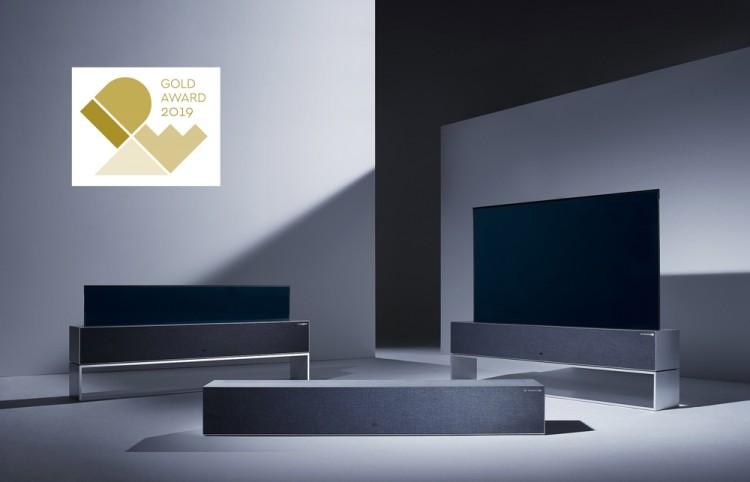 IDEA 2019에서 금상을 수상한 세계 최초의 롤러블 TV '시그니처 올레드 TV R' [사진=LG전자]