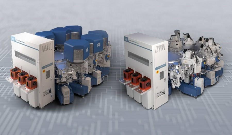 M램용 '엔듀라 클로버 PVD 플랫폼(왼쪽)'과 PC램 및 Re램용 '엔듀라 임펄스 PVD 플랫폼(오른쪽)'은 어플라이드 머티어리얼즈 개발 역사상 가장 정교한 칩 제작 시스템이다. 사진제공=어플라이드 머티어리얼즈