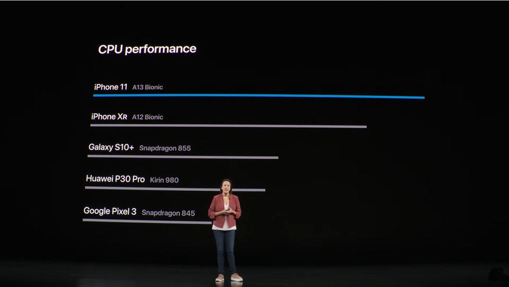 애플이 '아이폰11'에 탑재된 A13 바이오닉을 경쟁사 제품에 탑재된 AP와 성능비교를 통해 소개하고 있다. [사진=애플]