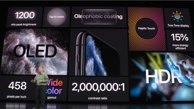 애플이 플래그십 모델 '아이폰11 프로·프로맥스'의 디스플레이를 소개하고 있다. [사진=애플]
