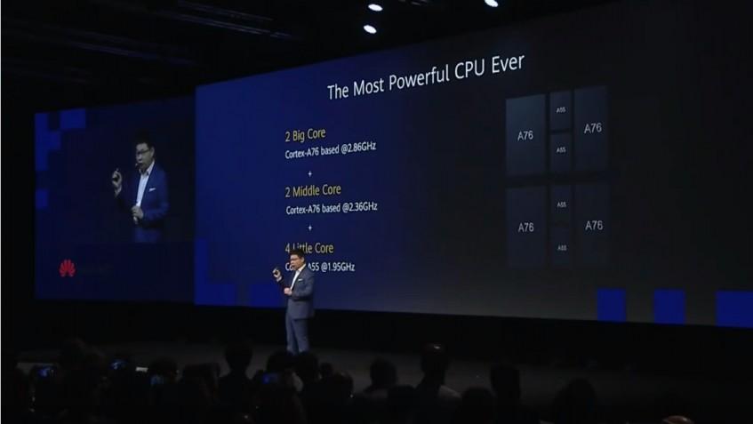 화웨이가 5G모뎀·AP 통합칩 기린 990 5G를 소개하고 있다. [사진=IFA 2019]