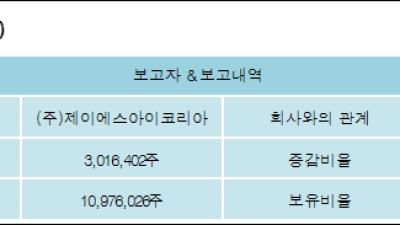 [ET투자뉴스][위지트 지분 변동] (주)제이에스아이코리아 외 1명 2.01%p 증가, 14.66% 보유