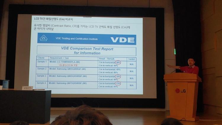 17일 서울 여의도 LG트윈타워에서 열린 LG전자 디스플레이 기술설명회에서 백선필 LG전자 TV 상품 전략팀 팀장이 VDE에서 발표한 LCD TV 간 CM 비교 검사 보고서를 공개하고 있다. 삼성전자의 QLED 8K 제품에서는 세로 해상도를 나타내는 CM 값이 현저히 떨어진 모습이다.