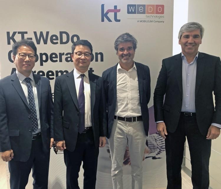 (왼쪽부터)배철기  KT 글로벌사업개발담당 상무, 김영우 KT 글로벌사업개발본부장 상무, 루이 패이바 WEDO CEO, 알바로 리베이로 WEDO CTO [사진=KT]