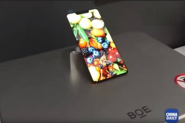 BOE's OLED panel that looks similar to the display of iPhone X (Source: Capture of China Daily's YouTube channel)