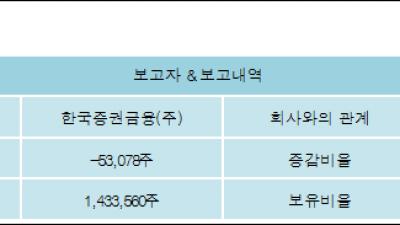 [ET투자뉴스][한창 지분 변동] 한국증권금융(주)4.12%p 증가, 4.12% 보유