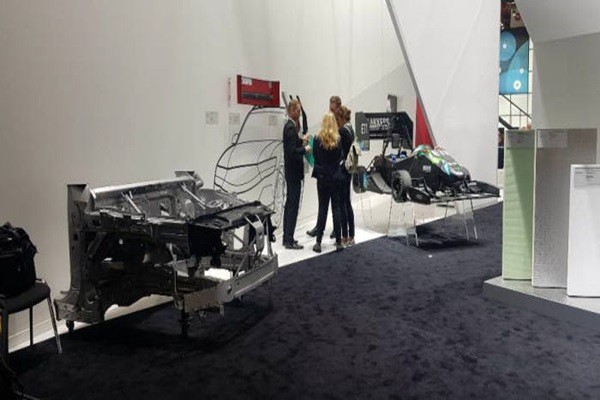 Electric vehicle model set up at Lanxess' booth
