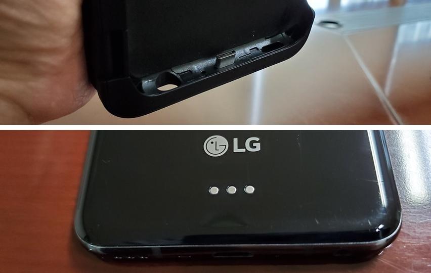 2세대 듀얼 스크린은 USB 연결방식을 채택하고 있다. 위쪽이 V50S와 연결되는 2세대 듀얼 스크린 하단부, 아래쪽이 V50 후면에 위치한 포고핀. 이 포고핀은 V50이 징을 박았다는 느낌이 들게 했다.
