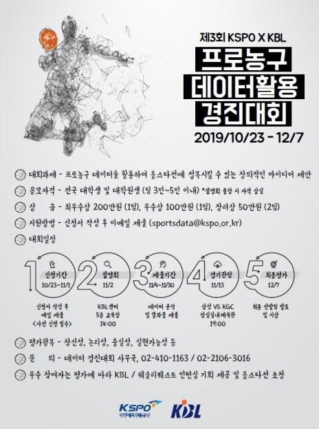 국민체육진흥공단, 제3회 프로농구 데이터 활용 경진대회 개최