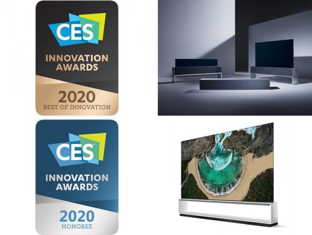 CES 2020 혁신상을 수상한 ▲LG 시그니처 올레드 R(위쪽) ▲LG 시그니처 올레드 8K [사진=LG전자]