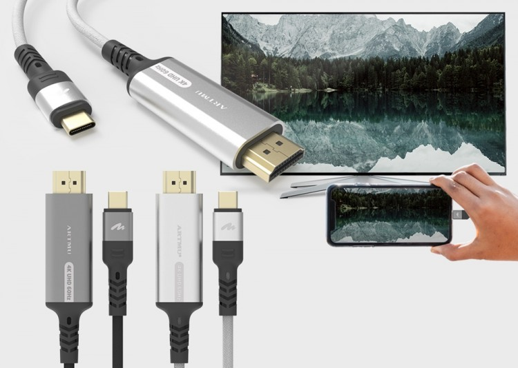 UHD 화질 미러링을 지원하는 아트뮤코리아의 USB-C to HDMI 스마트폰 미러링 케이블 [사진=아트뮤코리아]