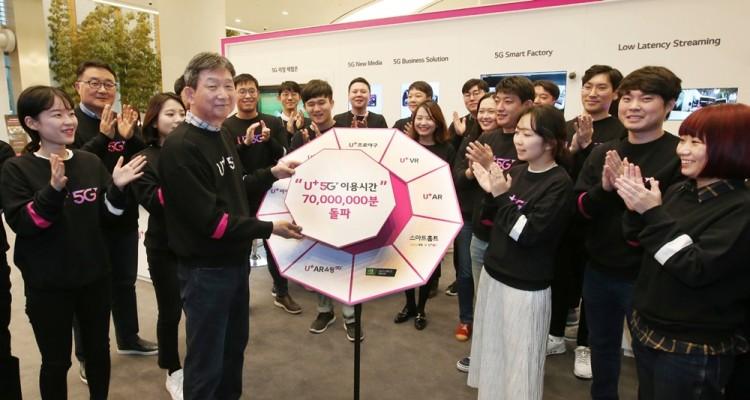 U+5G 전파발사 1년을 앞두고 황현식 LG유플러스 PS부문장(부사장) 등 임직원들이 U+5G 이용시간 7천만분 돌파를 기념하고 있다. [사진=LG유플러스]