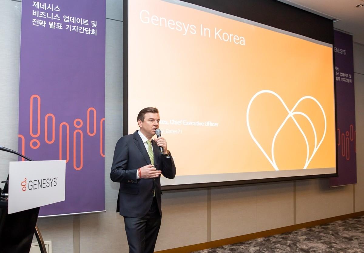 제네시스 토니 베이츠(Tony Bates) CEO가 한국 시장 전략을 발표하고 있다. 사진제공=제네시스