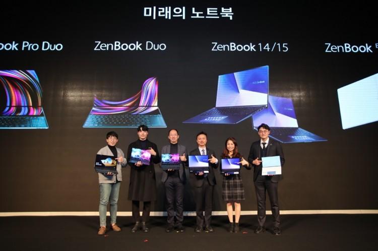 (왼쪽부터)유튜버 잇섭(IT Sub), 명민호 일러스트레이터, 렉스 리(Rex Lee) 에이수스 아시아퍼시픽 총괄 매니저, 피터 창(Peter Chang) 시스템 사업부 지사장, 빅토리아 선(Victoria Sun) 인텔 모바일 플랫폼 프로덕트 마케팅 매니저, 카이 램(Kai Lam) 프로덕트 매니저 [사진=에이수스코리아]