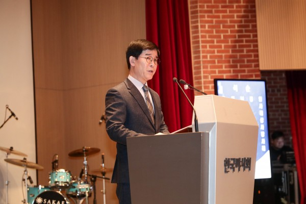 김낙순 한국마사회장이 시무식에서 신년사를 발표하고 있다. 사진=마사회