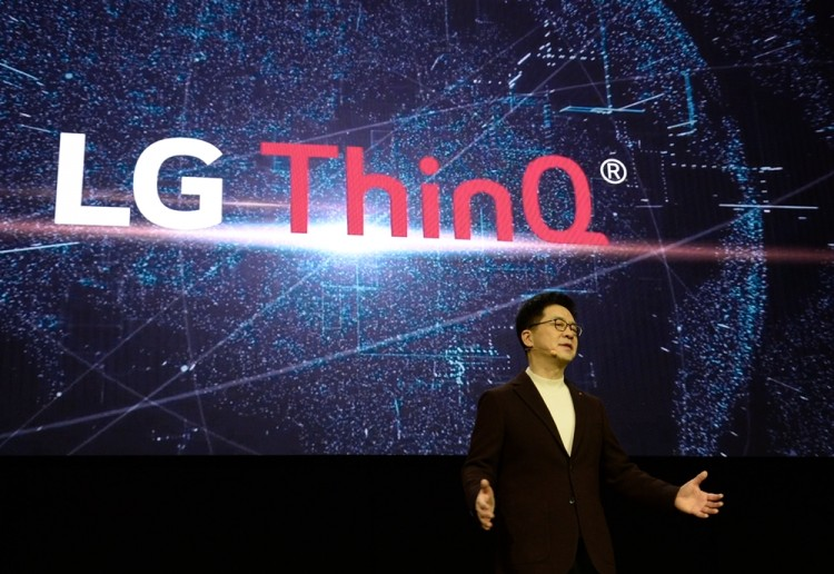 박일평 LG전자 CTO 사장이 '인공지능 발전 단계'를 발표하고 있다. [사진=LG전자]