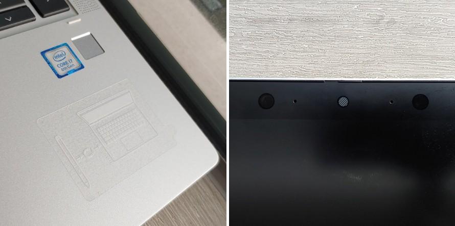 지문인식 버튼은 본체 오른쪽 아래 위치하며, 화면 전면에 카메라가 위치한다.