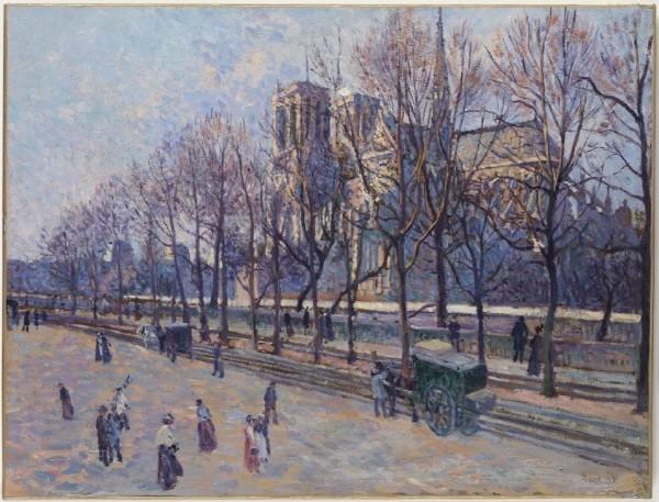 막시밀리앙 뤼스(Maximilien Luce) '노트르담 드 파리, 몽트벨로 부두에서 본 전경(Notre-Dame de Paris, View from Montebello Quay), 캔버스에 붙인 종이에 유채(Oil on paper mounted on canvas), 1897'. 사진=컬쳐앤아이리더스 제공