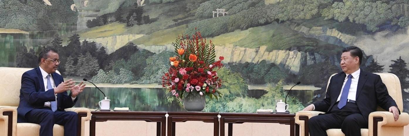 테드로스 아드하놈 게브레예수스 세계보건기구(WHO) 사무총장이 지난달 28일 시진핑 중국 국가 주석을 만나 신종 코로나 바이러스 대책을 논의하고 있다. [사진=WHO]