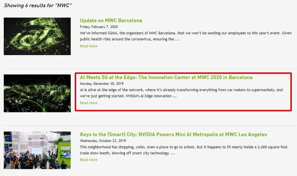 MWC 키워드로 검색되는 엔비디아가 지난해 12월 30일에 게재했던 MWC 2020 참가 소식. 현재 이 게시물 클릭시 참가 취소 결정 게시글로 자동 이동된다. [출처=엔비디아]