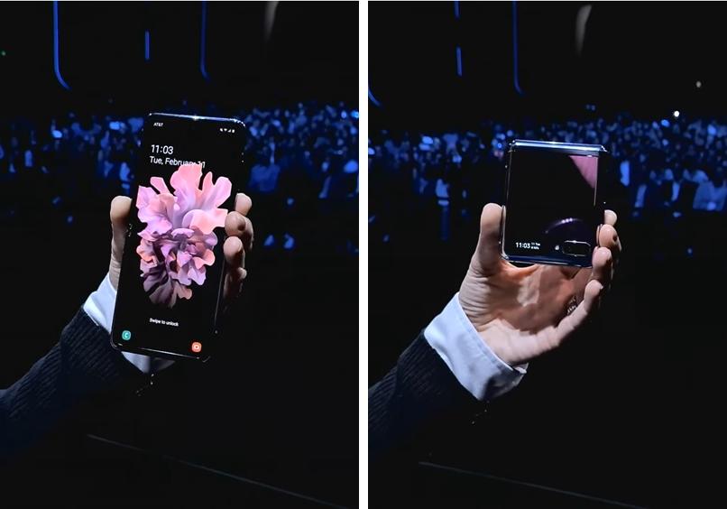 삼성전자가 갤럭시 언팩 2020 현장에서 '갤럭시 Z플립'을 소개하고 있다. [사진=삼성전자]