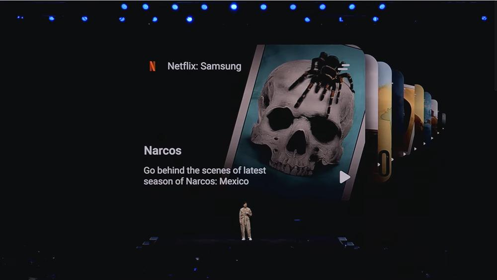 갤럭시 언팩 2020 현장에서 잭키 리-조 넷플릭스 최고 마케팅 담당자(CMO)가 삼성전자와 협업해 제작한 오리지널 콘텐츠를 소개하고 있다. [사진=삼성전자]