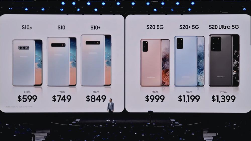 갤럭시 언팩 2020에서 소개된 갤럭시 S20 미국 출시 모델의 가격은 전작 갤럭시 S10보다 더 높게 책정됐다. [사진=삼성전자]