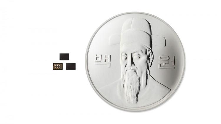모바일기기용 보안 칩(IC) 중 가장 높은 'EAL 5+' 보안등급을 획득한 'S3K250AF'의 크기는 100원짜리 동전 크기보다 월등히 작다.