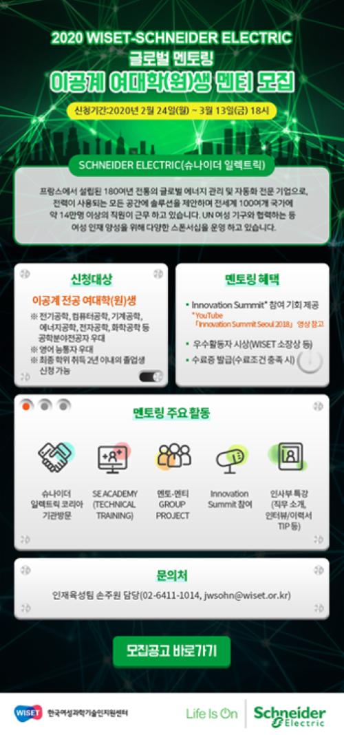 슈나이더 일렉트릭-위셋, 글로벌 멘토링 참가자 모집