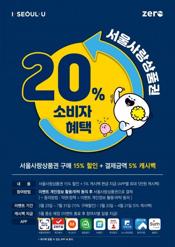 서울사랑상품권의 소비자 혜택이 23일부터 최대 20%까지 상향된다. [사진=한국간편결제진흥원]