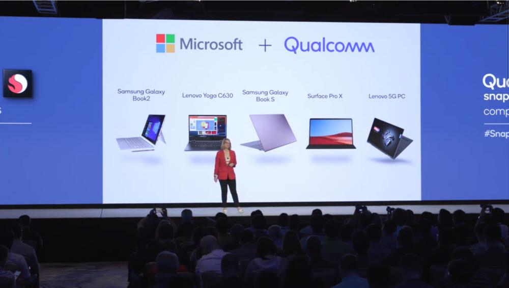 니콜 데젠 마이크로소프트 제품 파트너 부사장이 퀄컴 협업 사례를 소개하고 있다. 왼쪽부터스냅드래곤 컴퓨트 플랫폼이 탑재된 삼성 갤럭시 북2, 레노버 요가 C630, 삼성 갤럭시 북 S, MS 서피스 프로 X, 레노버 5G PC [사진=퀄컴]
