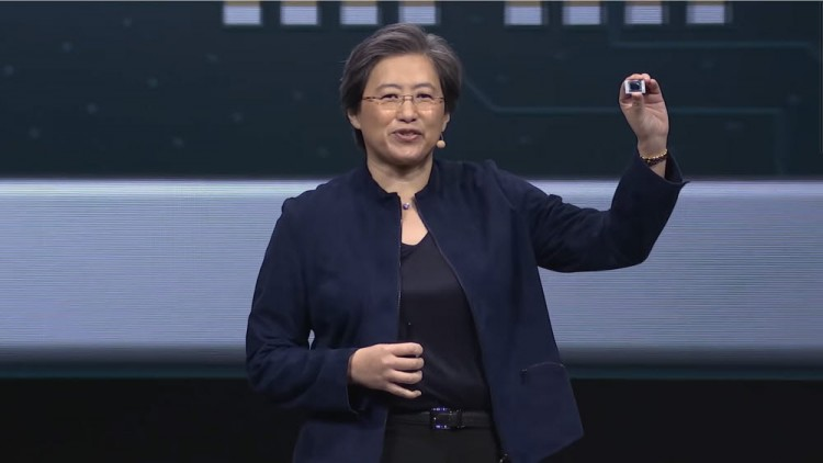 리사 수 AMD CEO가 CES 2020 키노트 연설에서 라이젠 4000 시리즈를 공개하고 있다. 라이젠 4000 시리즈는 인텔 CPU보다 약점으로 지적받던 싱글코어 성능도 개선했다. [사진=AMD]