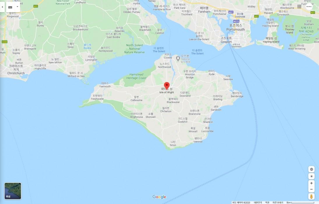 영국 와이트섬 위치 [출처=구글 맵]