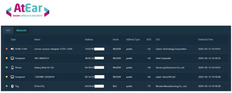 기업용 무선 네트워크 보안 솔루션 노르마 '앳이어'의 블루투스 탐지 화면