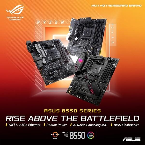 AMD 보급형 B550 칩셋 기반 ROG 스트릭스, TUF 게이밍, 프라임 메인보드 시리즈 [사진=에이수스코리아]